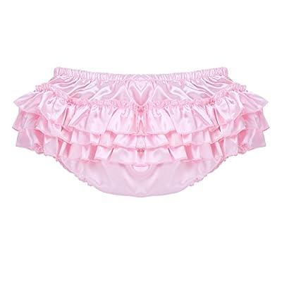 Aislor Men's Soft Shiny Satin Frilly Sissy Lingerie Bloomer Ruffled Skirted Panties Crossdress Underwear at Amazon Men's Clothing store