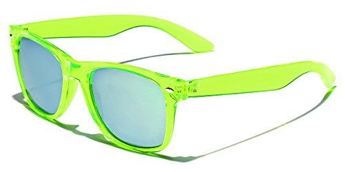 Retro 80's Fashion Sunglasses - Colorful Neon Translucent Frame - Mirrored Lens - Lime]()
