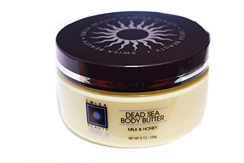 Swisa Beauty Dead Sea Body Butter, Milk & Honey - Hydrating and Nourishing Shea Butter Moisturizer, 8oz