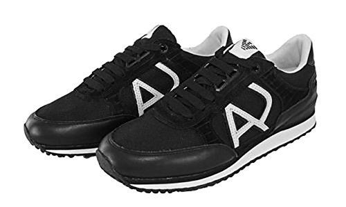 Armani Jeans Hombres Classic Aj Zapatillas De Moda, Negro, Tamaño 10