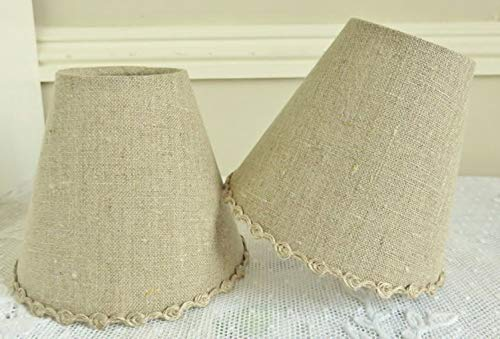 French country natural linen lamp shade 4.3 ins x 5.1 ins clip on for sconce or - French Chandelier Shades Country