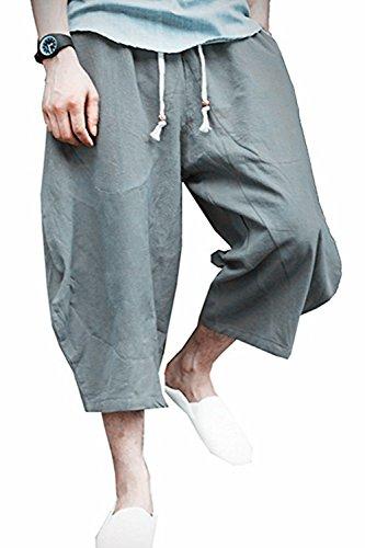 Thrivqyaf Men's Patchwork Shorts Loose Linen Harem Capri Pants with Drawstring (Waist:36