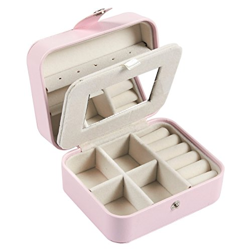 Pull Holder Necklace Jewelry (Travel Jewelry Box - Portable Jewelry Storage Organizer for Rings, Earrings, Necklaces – Small Jewelry Holder Carrying Case with Mirror Divider, Snap Closure, 2 Layers - Pink, 4.25 x 3.5 x 2.25 Inches)