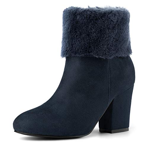 Boots Round Toe Block Blue Snow Heel Navy Women's Fur Allegra Faux Ankle K w4Cqvv