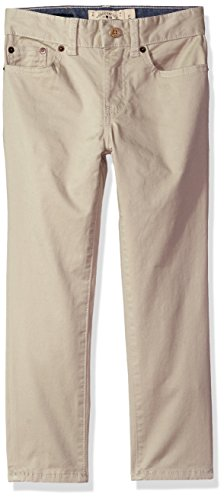 Lucky Brand Little Boys' 5 Pocket Stretch Twill Pant, Light Stone, 7 Stone Stretch Twill