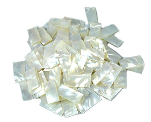 Yuan's 150 Pieces 0.3''x0.7'' (1cmx2cm) Rectangle Shell. Two Side Polished. For Mosaic Inlay Jewelry Design (1cmx2cm, White)