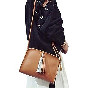 Fashion Women Tassels Leather Handbag ,Kaifongfu Crossbody Shoulder Messenger Zero Coin Bag