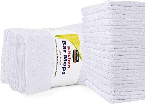 Utopia Towels Kitchen Bar Mops Towels, 16 x 19 Inches, 100% Cotton Super Absorbent White Bar Towels, Multi-Purpose Cleaning Towels for Home and Kitchen Bars, (Pack of 12)