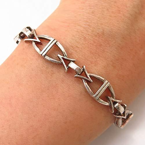 925 Sterling Silver Modernist Link Bracelet 7