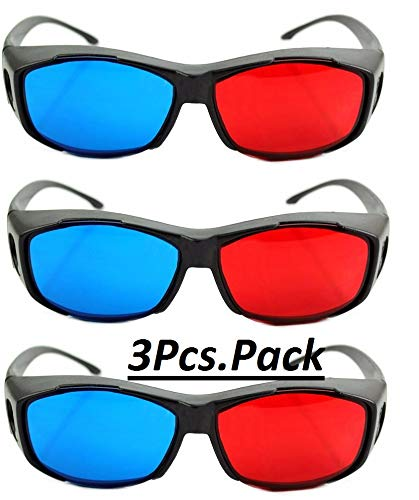 Jambar Nvidia Red & Anaglyph ( 3 Pcs.Pack ) Red & Blue Glasses for TV / Computer / Projector/ Magazine