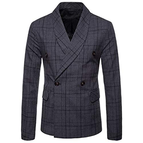 Double Breasted Worsted Wool Suit - Mens Vintage Plaid Blazer Fashion Slim Fit Suit Jacket Double Breasted Blazers