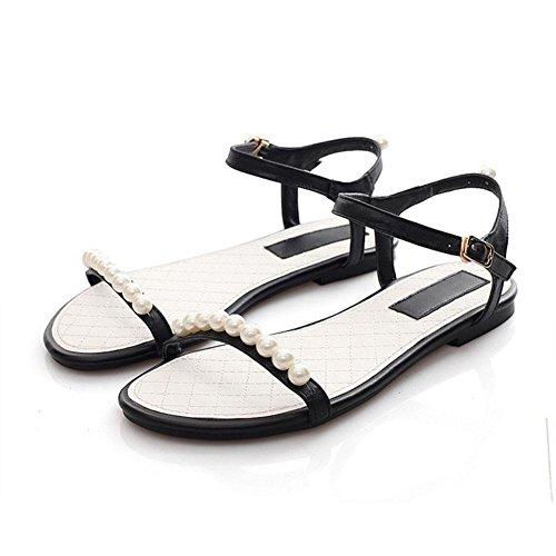 Frau Art und Weise neue Perlen flache Sandalen Persönlichkeit wilde bequeme Schuhe mit Metalldekoration fester Sandalen Farbe Black