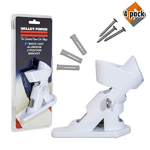 Valley Forge, American Flag, Aluminum Bracket White Powder Coated, 2-Position Pole Holder, 4 Pack by Valley Forge