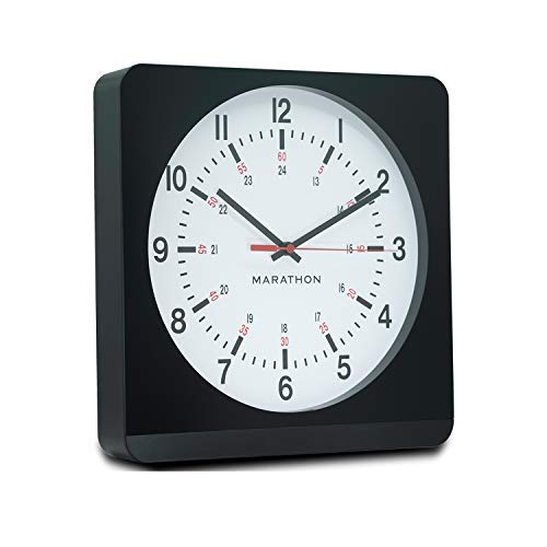 Marathon CL030057BK-WH1 Silent Non-Ticking Wall Clock with Warm Amber Auto Back Light. Easy to Read Classic Dial with 12 and 24-Hour Scale. Batteries Included. Color-Black Case/White Dial.