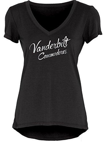 NCAA Vanderbilt Commodores Women's Liquid Jersey V-Neck, Black, Small