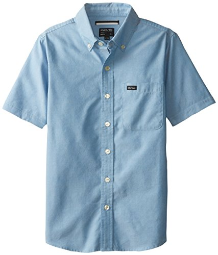 RVCA Big Boys' That'll Do Oxford Short Sleeve Shirt, Acid Wash Blue, X-Large