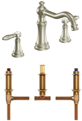 Moen TS22103BN-4792 Weymouth Two-Handle High Arc Roman Tub Faucet with Valve, Brushed Nickel by Moen