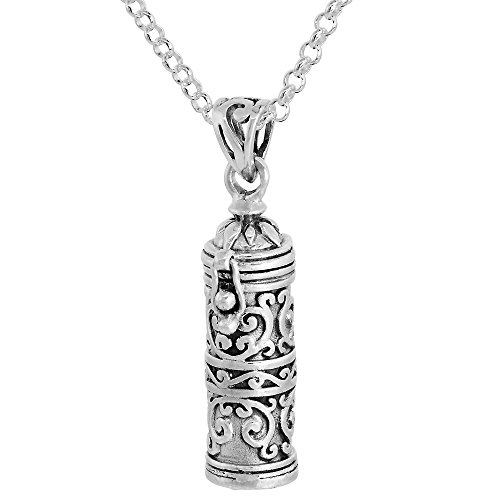 Sterling Silver Prayer Box Necklace Tubular Shape floral Design, 1.125 inch 16 inch Chain Rol_1 (Necklace Sterling Prayer Box Silver)