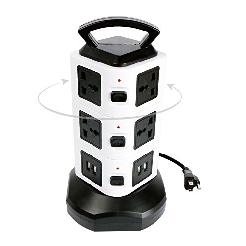 Phone Protector 10 Outlet (Surge Protector Power Strip Tower, GLCON Fireproof 10 Outlet 4 USB Ports Charging Station with 6.5ft Retractable Cord and Safe Handle, Multi Plug Extension Universal Socket for PC Laptop Game iPhone)