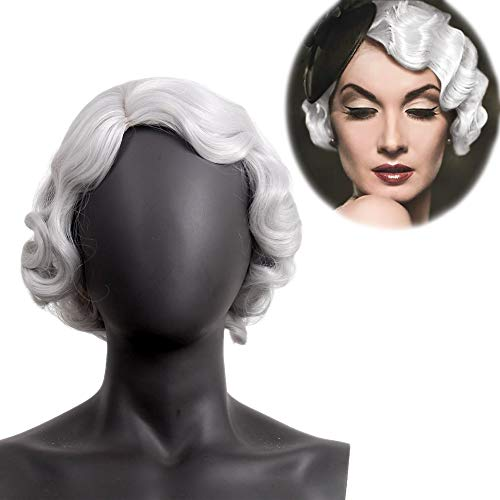 STfantasy 1920s Finger Wave Wig Bob Short Curly for Women Cosplay Party Costume Hairpiece 12 Inches Silver Gray