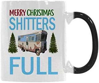 Heat Sensitive Color Changing Coffee Mug Merry Christmas Shitter's Full Christmas Funny Coffee Cup 11 Ounce