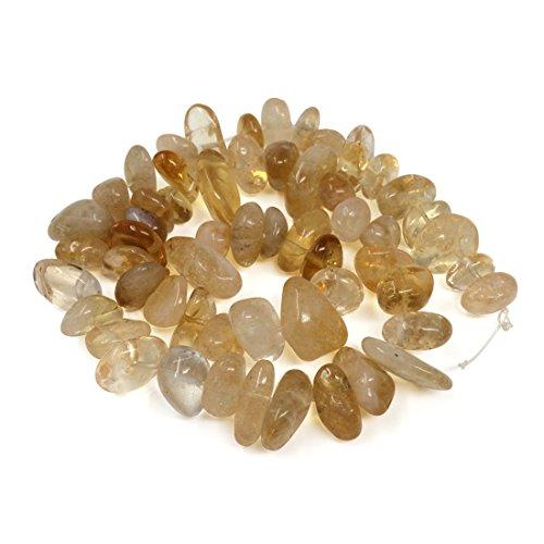 Citrine Gemstone 12x8mm Center Drilled Rondelle Pebble Gemstone Loose Beads 16