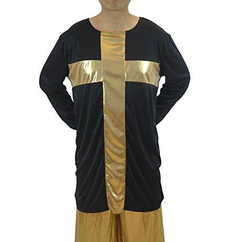 Danzcue Praise Cross Mens Inspired Pullover Dance Top, Black/Gold, 2XL/3XL -