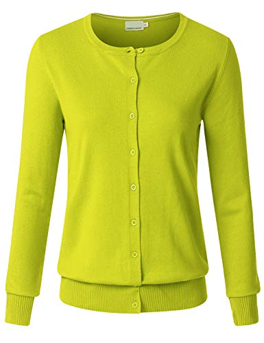 JSCEND Women's Long Sleeve Button Down Crew Neck Soft Knit Cardigan Sweater Lime XL