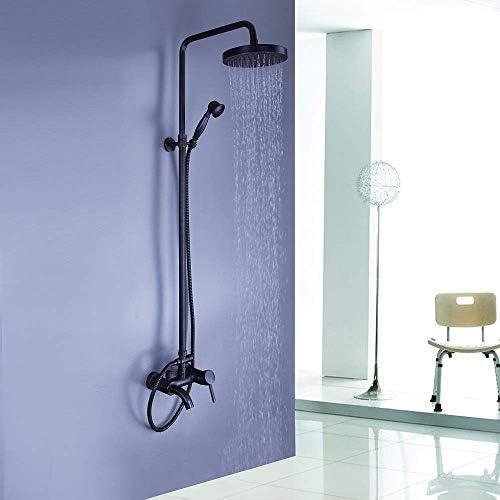 ZT-TTHG 繊細なオール銅シャワー蛇口セットブラック古代ホット&コールドシャワーセットのワンハンドル三穴お風呂シャワーの蛇口