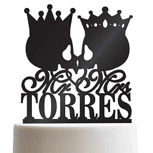 Mr Mrs Skull King Queen Crown Personalized Wedding Cake Topper Customized Last Name Halloween Wedding | Solid Color Cake Toppers]()