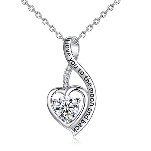 Heart Sterling Silver Necklace for Women CELESTIA Cubic Zirconia Love Pendant I Love You to the Moon and Back Necklaces, Birthday Christmas Gifts for her - 18