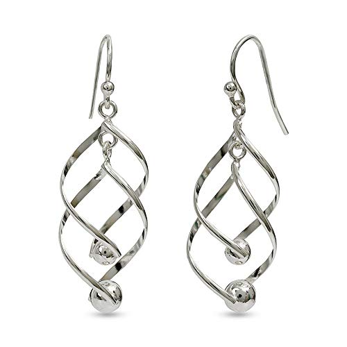 LeCalla Sterling Silver Classic Linear Loops Design Twist Wave Drop Dangler Earrings for Women Girls