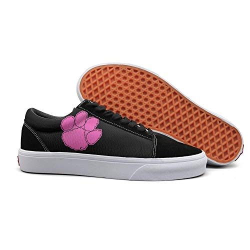 Unisex Slip-On Shoes Clemson Tigers Logo Pink Breast Cancer Vintage Low Cross Cushioning Shoes for Womens Man.Mens