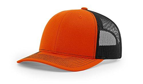 - Running Partner Richardson 112 112P Trucker Mesh Snapback Hat Curved Bill with NoSweat Hat Liner (Adjustable Snapback Split Colorway, Orange/Black)