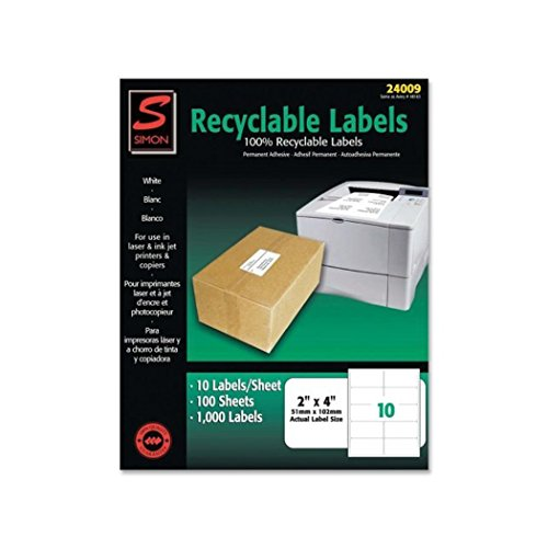 Labels, SJ Paper recyclable laser/injet labels, Self-adhesive (1k/Box)
