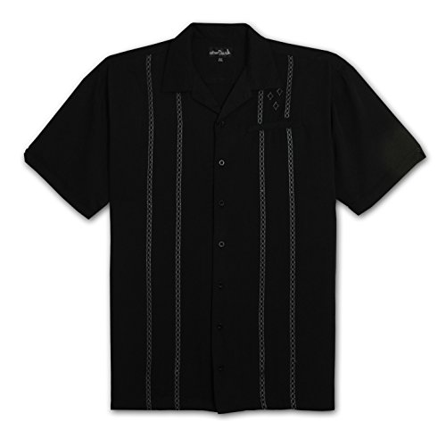 Panel Camp Shirt (After Dark by Falcon Bay Big and Tall Retro Panel Camp Shirt (Black 4X-T))