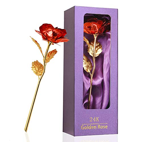 - Childom Valentines Day Gifts, Valentines Gifts, Best Love Gift for Girlfriend, Red Rose Flowers Gifts Present 24K Gold Foil with Gift Box, Great Present for Girlfriend, Thanksgiving Day, Birthday