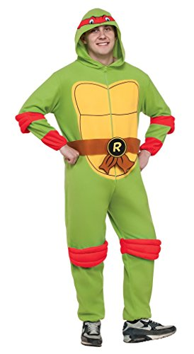 Ninja Turtle Onesie Costume (Adult size Raphael TMNT Hooded Fleece Jumpsuit - Pajama - Standard)