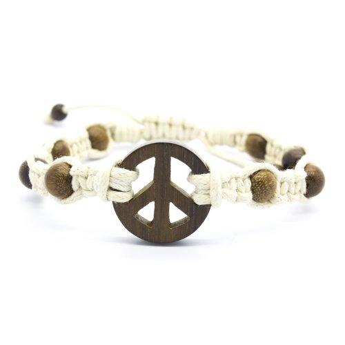 Peace Sign Robles Wood Off-White Macrame Bracelet, Sliding Lock (7 IN)