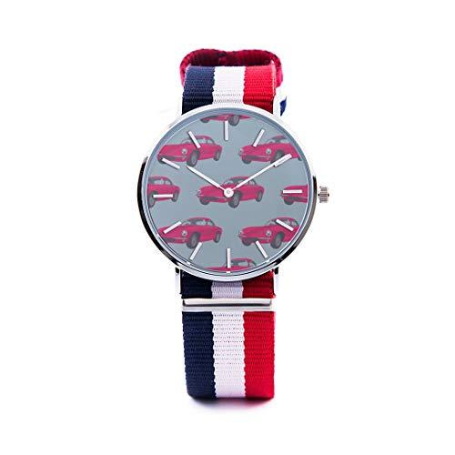 Unisex Fashion Watch Vintage Car Retro Modern Traffic England Print Dial Quartz Stainless Steel Wrist Watch with Nylon NATO Strap Watchband for Women/Men 36mm&40mm Casual Watch - Stainless Aston Steel Watch