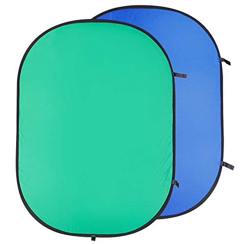 Neewer 5 x 6.5FT / 1.5 x 2M Photo Collapsible Reversible Two Sides Chromakey Green Blue Background (Muslin Background Light)