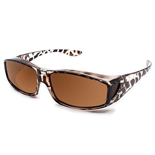 Ringsky Fit Over Glasses Sunglasses Polarized Lenses Men Women/Wear Over Prescription Glasses Outdoor Sports Sunglasses UV400 (Leopard Print)