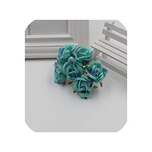6 / Batch 4 cm Silk Gradient Mini Roses Artificial Bouquet Wedding Decorations DIY Galan Clipboard Gift Accessories,Tiffany Blue (Tiffany Blue Clipboard)