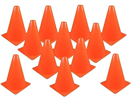 Kicko Traffic Cones Plastic 8 Inches - Pack of 12 Multipurpose Construction Theme Party Sports Activity Cones for Kids, Outdoor and Indoor Gaming, and Festive Events -