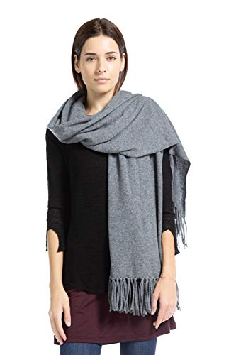 Fishers Finery Women's 100% Cashmere Knit Wrap with Fringe (Iron Gate)