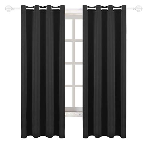 2 Panel Curtain Set - Milly&Roy Blackout Curtains Grommet Thermal Insulated Room Darkening Curtains for Bedroom 52 x 84 inch Black Set of 2 Curtain Panels