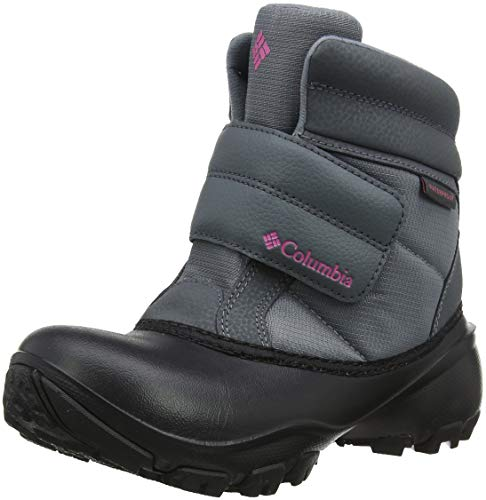 Columbia Girls' Youth Rope Tow Kruser Snow Boot, Grey ash, Camellia Rose, 6 Regular US Big Kid