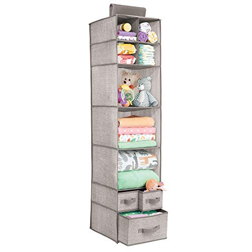 (mDesign Soft Fabric Over Closet Rod Hanging Storage Organizer with 7 Shelves and 3 Removable Drawers for Child/Kids Room or Nursery - Textured Print - Linen/Tan)