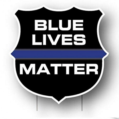 VictoryStore Yard Sign Outdoor Lawn Decorations, Blue Lives Matter Yard Sign, Set of 2, with 4 Short Stakes -