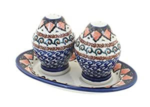 Polish Pottery Blue Horizon Salt & Pepper Shakers